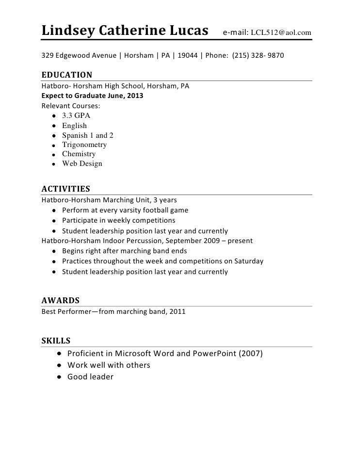 High School Student Job Resume