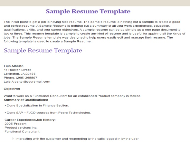 monster com resume template