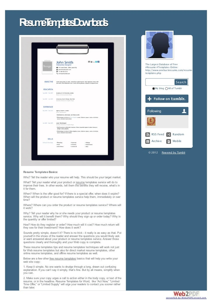 Info on How to Download Resume Templates in 2012