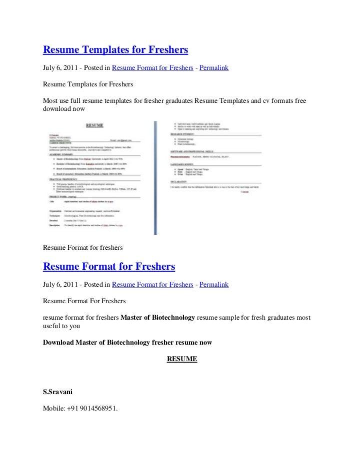 sample resume for fresh graduate in biotechnology