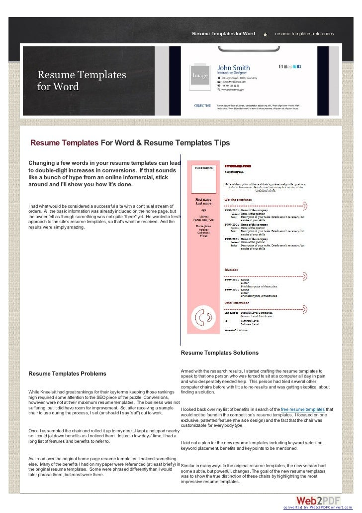 Resume Templates for Word                   resume-templates-references    Resume Templates    for WordResume Templates Fo...