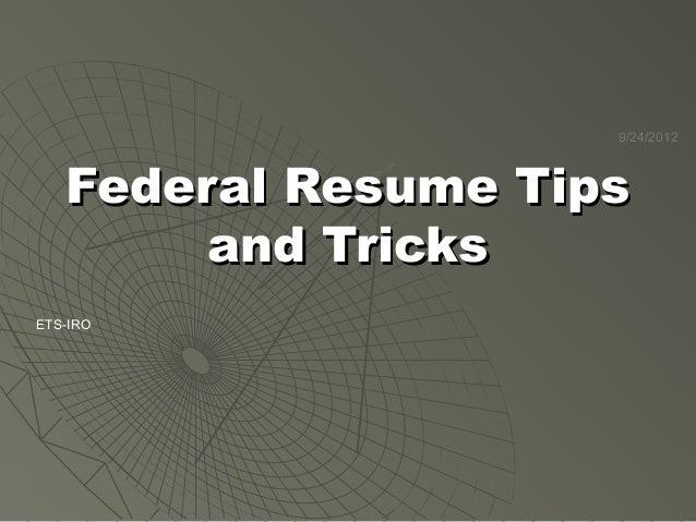 Federal Resumes and Job Applications