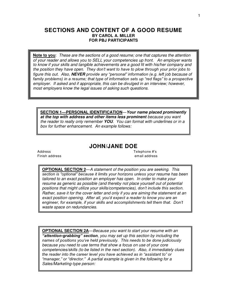 1         SECTIONS AND CONTENT OF A GOOD RESUME                                  BY CAROL A. MILLER                       ...