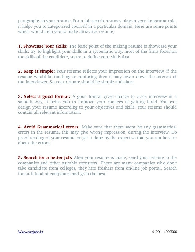 resume tips that fresher needs to