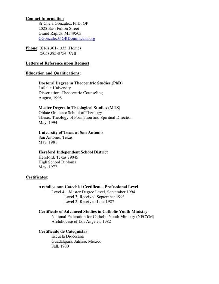 Contact Information<br />Sr Chela Gonzalez, PhD, OP<br />2025 East Fulton Street<br />Grand Rapids, MI 49503<br />CGonzale...