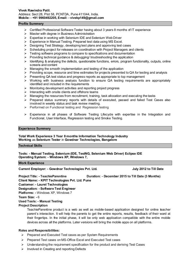 resume vivek patil manual automation testing