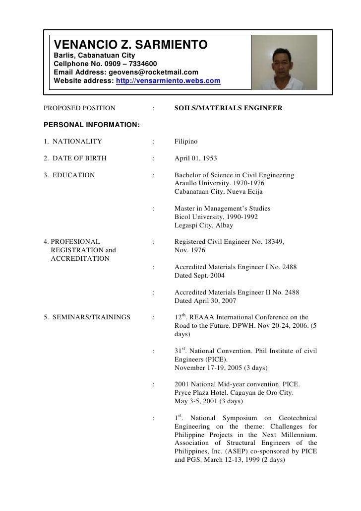 VENANCIO Z. SARMIENTOBarlis, Cabanatuan CityCellphone No. 0909 – 7334600Email Address: geovens@rocketmail.comWebsite addre...