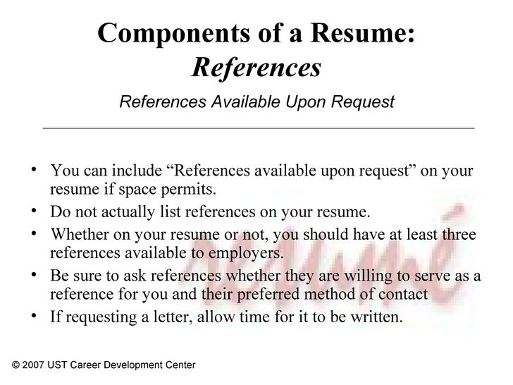 resume webinar    development center     components of a resume  references