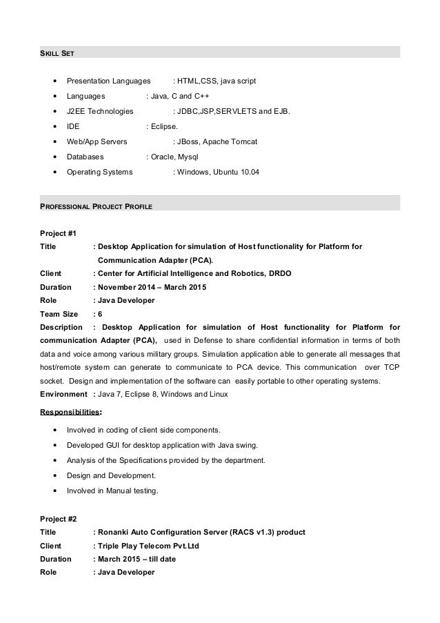 java. senior. resume with 7 months internship experiance in java ...