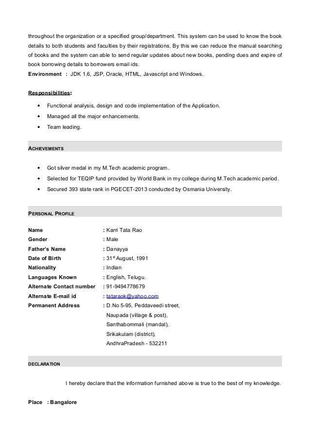 Java Resume | Cover Letter