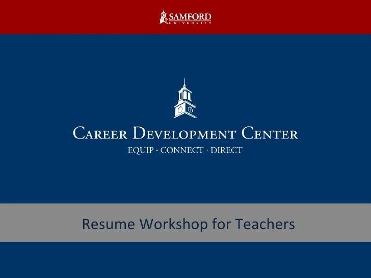 Resume Workshop for Teachers