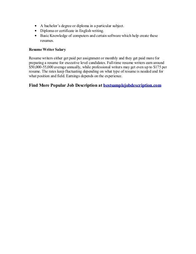 Professional resume writer job description