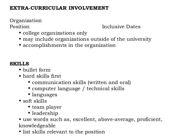 organizational skills on resumes