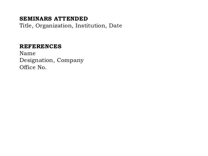 Sample resume with trainings attended