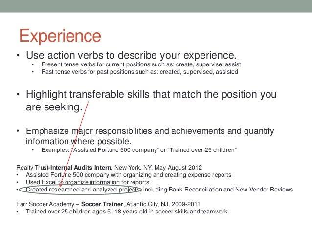 Resume Past Tense Or Present,Resume Sample 46376283 Printable ...