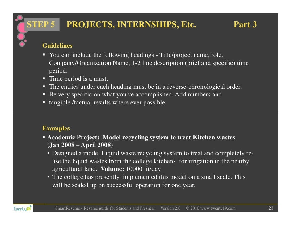 What should a current college student put on his resume if applying for an internship?