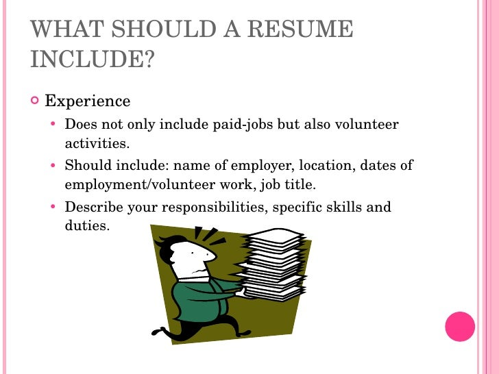 what should be included in a resumes