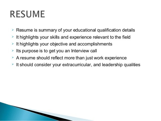 Resume in a ppt