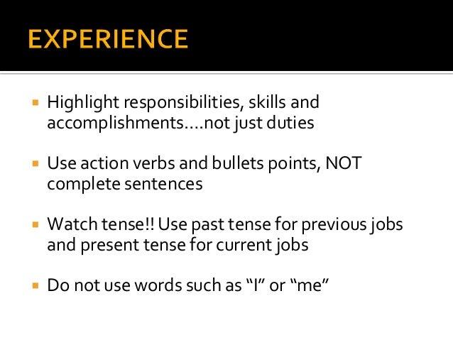 Resume Current Verb Tense 28 Images Resume Description