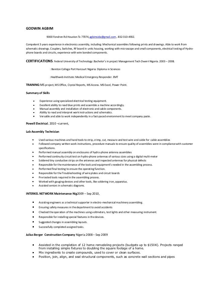 assembly technician resume jobs