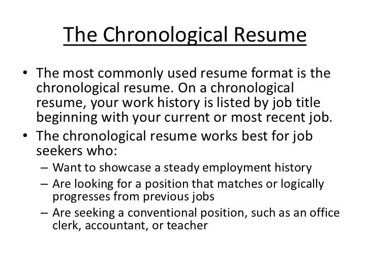 What is a Chronological Resume Format