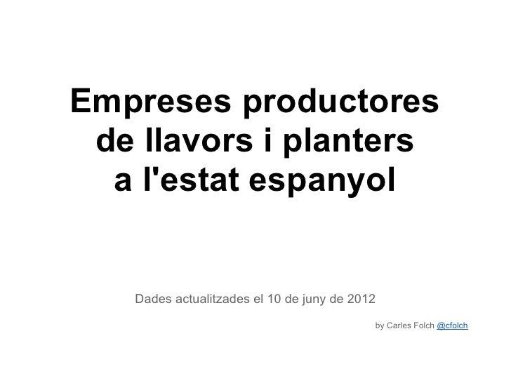 Empreses productores de llavors i planters  a lestat espanyol   Dades actualitzades el 10 de juny de 2012                 ...