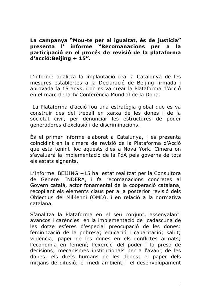 """La campanya """"Mou-te per al igualtat, és de justícia"""" presenta l' informe """"Recomanacions per a la participació en el procés..."""