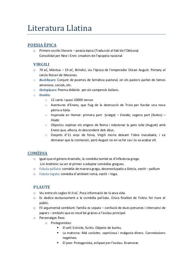 Literatura LlatinaPOESIA ÈPICA  o   Primers escrits literaris – poesia èpica (Traducció al llatí de l'Odissea)      Consol...