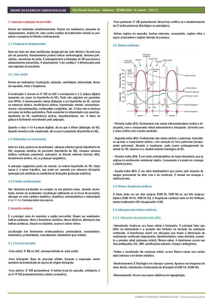 Resumo   exame do aparelho cardiovascular