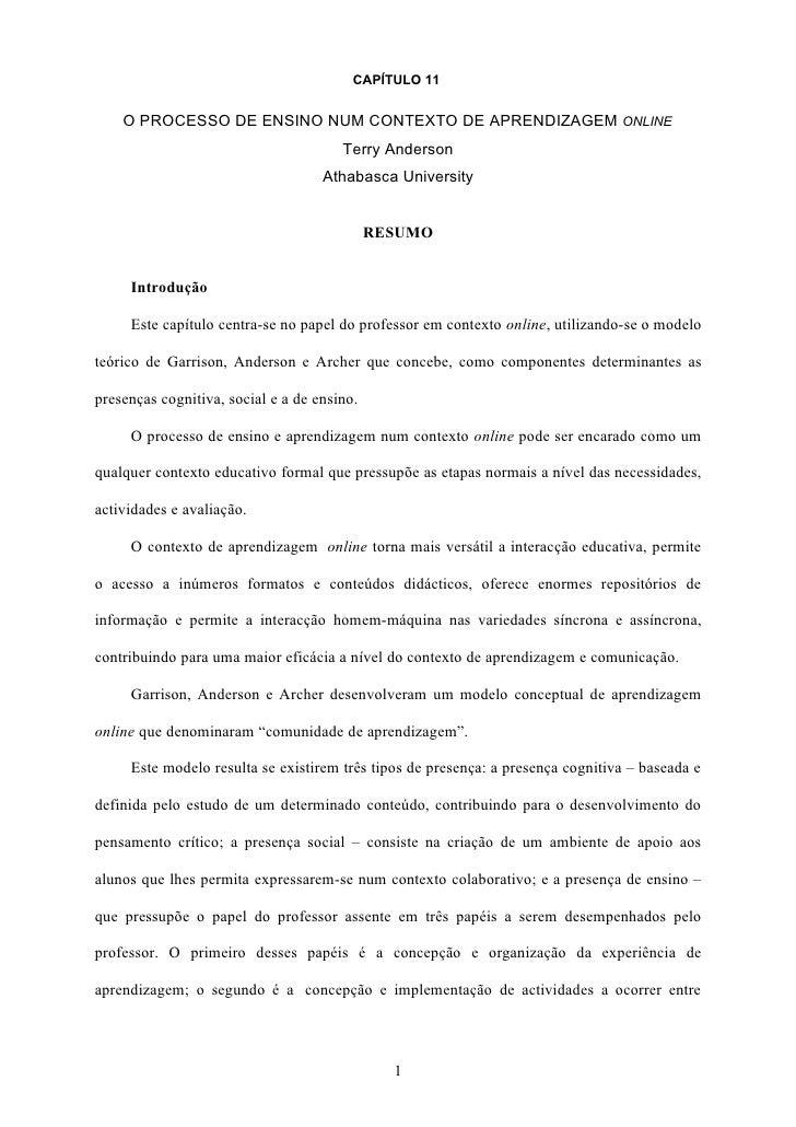 CAPÍTULO 11       O PROCESSO DE ENSINO NUM CONTEXTO DE APRENDIZAGEM ONLINE                                        Terry An...