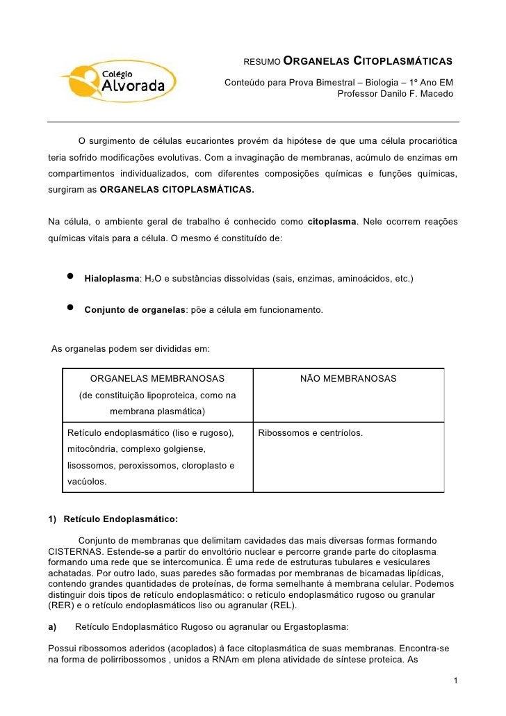 RESUMO ORGANELAS       CITOPLASMÁTICAS                                            Conteúdo para Prova Bimestral – Biologia...