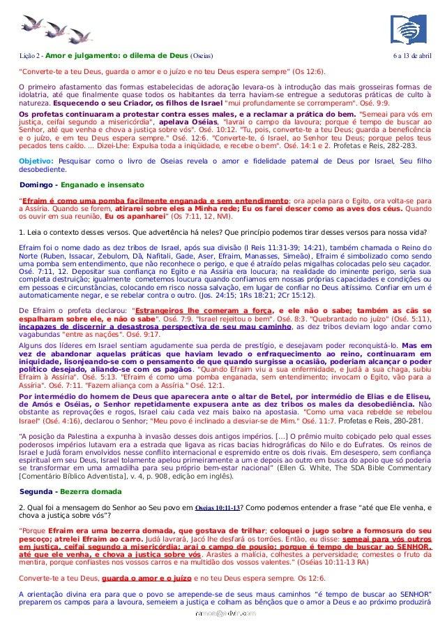Lição 2 - Amor e julgamento: o dilema de Deus (Oseias)                                                       6 a 13 de abr...