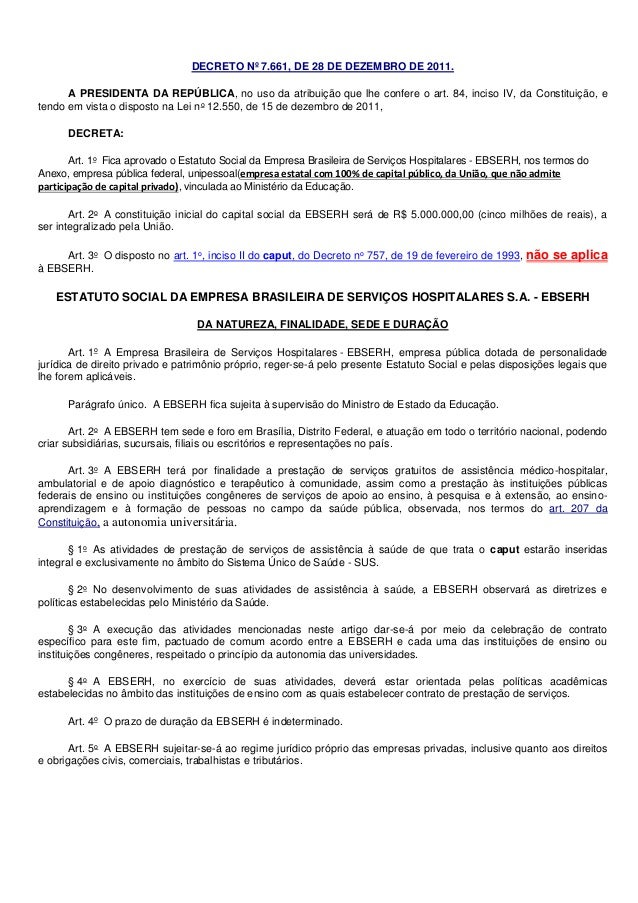 Resumo2 decreto nº 7.661 ebserh