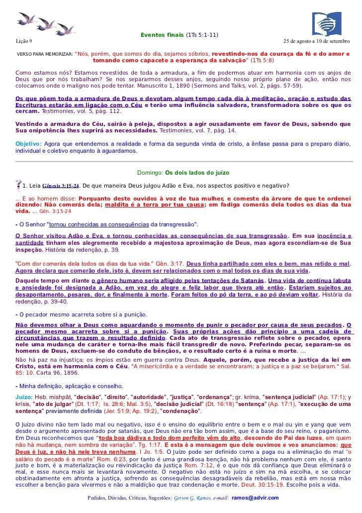Eventos finais (1Ts 5:1-11)Lição 9                                                                                        ...