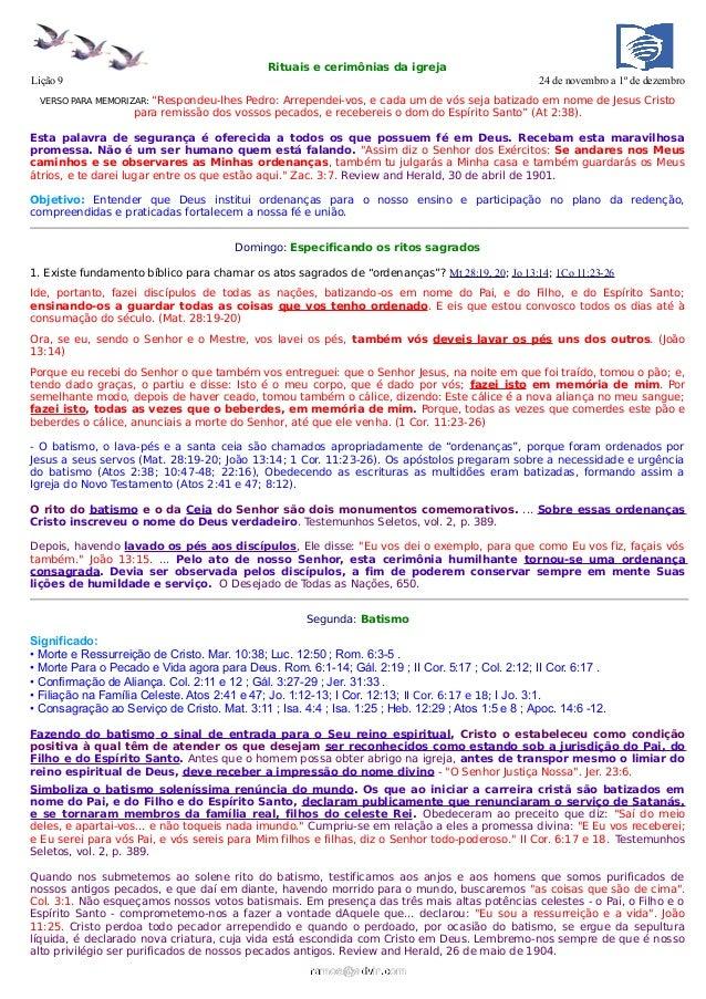 Rituais e cerimônias da igrejaLição 9                                                                                     ...