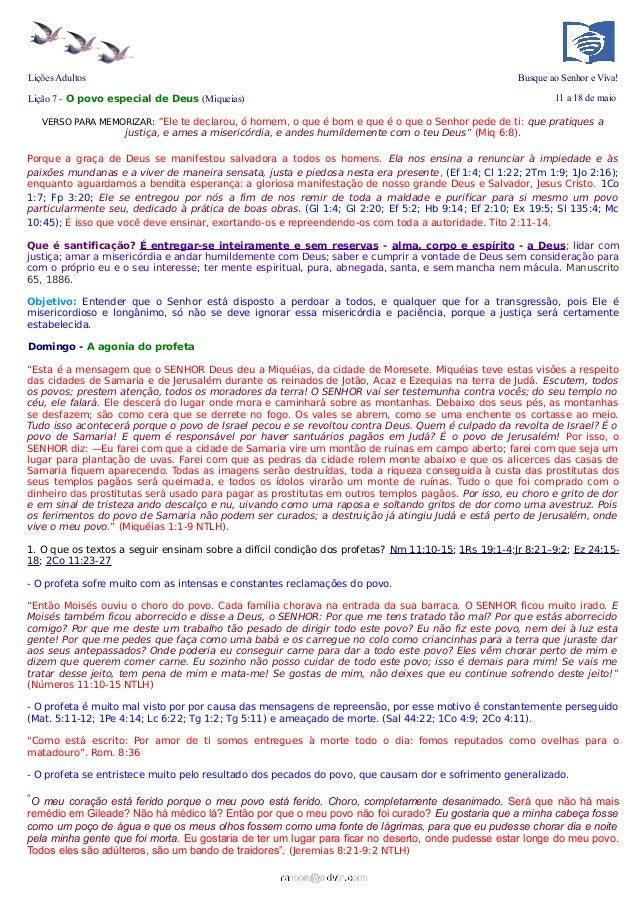"""Lições Adultos Busque ao Senhor e Viva!Lição 7 - O povo especial de Deus (Miqueias) 11 a 18 de maioVERSO PARA MEMORIZAR: """"..."""