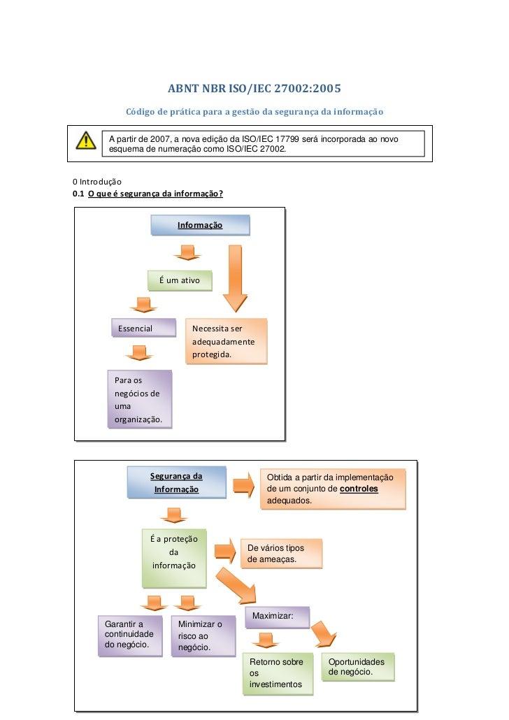 ABNT NBR ISO/IEC 27002:2005            Código de prática para a gestão da segurança da informação        A partir de 2007,...