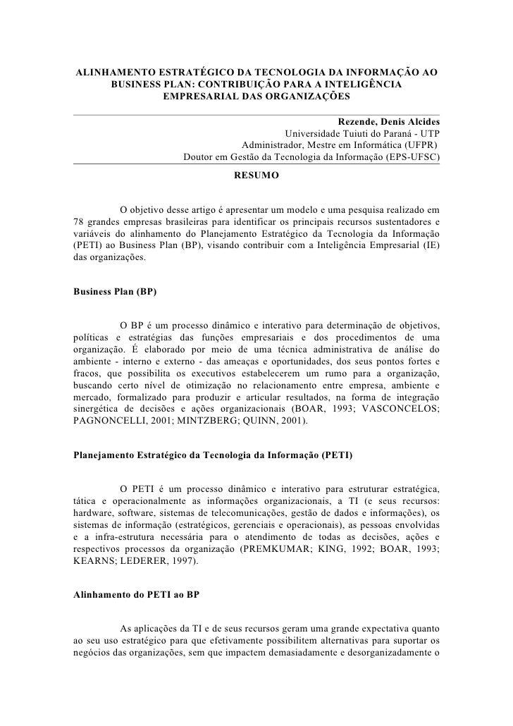 ALINHAMENTO ESTRATÉGICO DA TECNOLOGIA DA INFORMAÇÃO AO     BUSINESS PLAN: CONTRIBUIÇÃO PARA A INTELIGÊNCIA              EM...