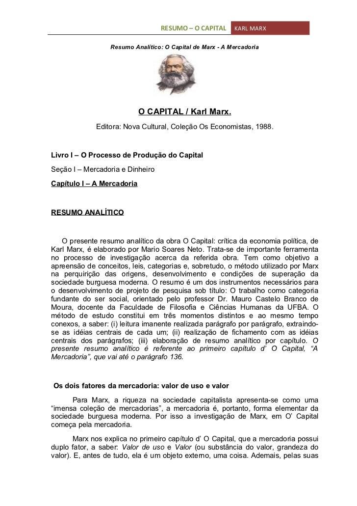 Resumo analítico de o capital   karl marx doc