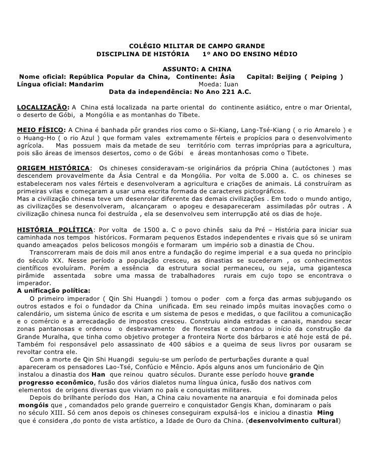 COLÉGIO MILITAR DE CAMPO GRANDE                        DISCIPLINA DE HISTÓRIA   1º ANO DO ENSINO MÉDIO                    ...