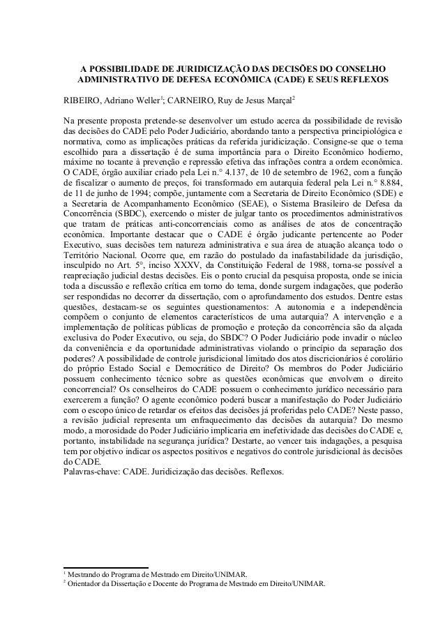 A POSSIBILIDADE DE JURIDICIZAÇÃO DAS DECISÕES DO CONSELHO      ADMINISTRATIVO DE DEFESA ECONÔMICA (CADE) E SEUS REFLEXOSRI...