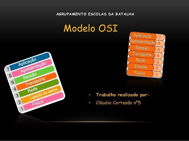 • Trabalho realizado por: • Cláudio Cortesão nº5 Modelo OSI AGRUPAMENTO ESCOLAS DA BATALHA