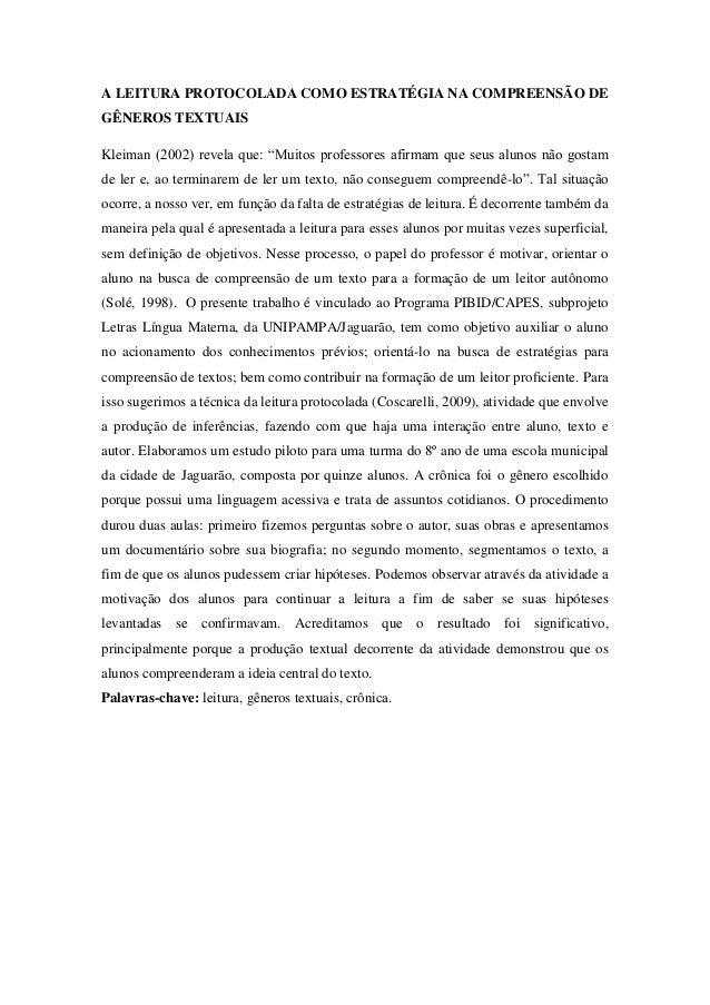 """A LEITURA PROTOCOLADA COMO ESTRATÉGIA NA COMPREENSÃO DE GÊNEROS TEXTUAIS Kleiman (2002) revela que: """"Muitos professores af..."""