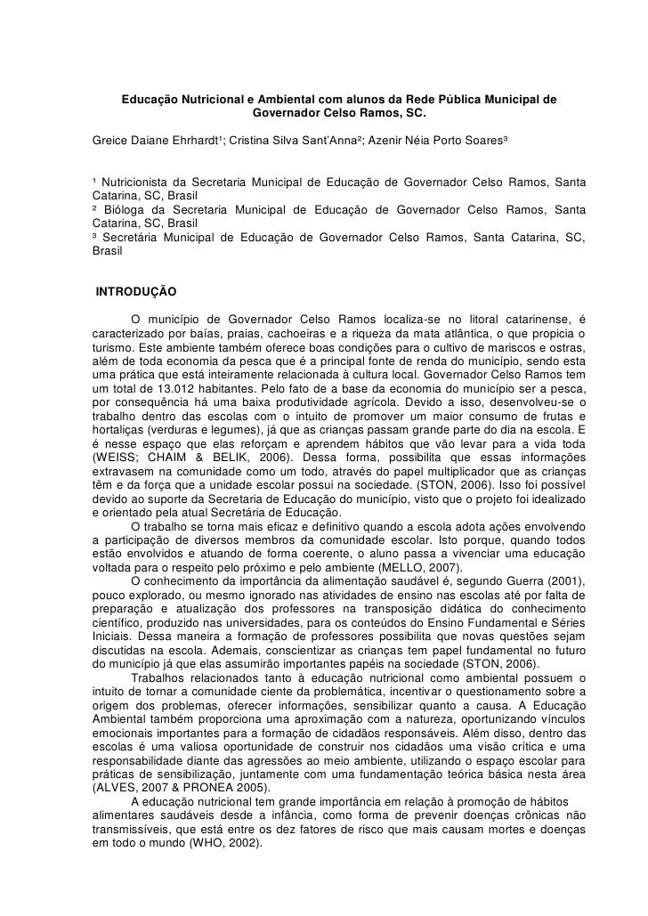 Resumo FENERC 2012 - Governador Celso Ramos