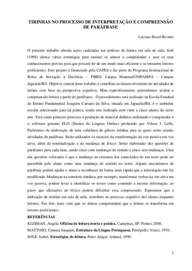 TIRINHAS NO PROCESSO DE INTERPRETAÇÃO E COMPREENSÃO                    DE PARÁFRASE                                       ...