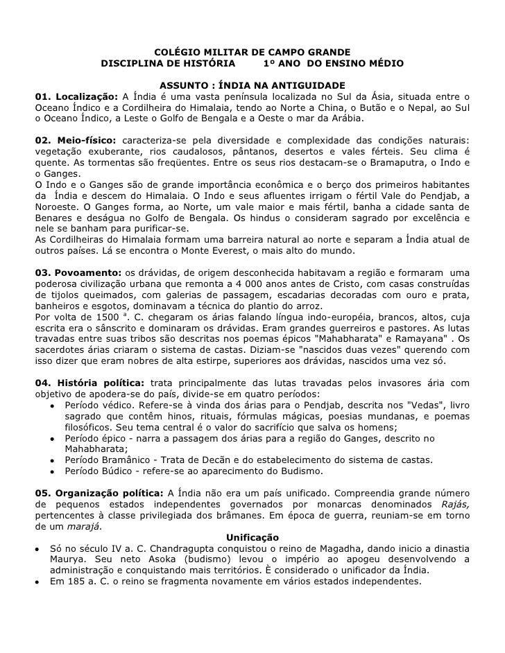 COLÉGIO MILITAR DE CAMPO GRANDE              DISCIPLINA DE HISTÓRIA     1º ANO DO ENSINO MÉDIO                           A...