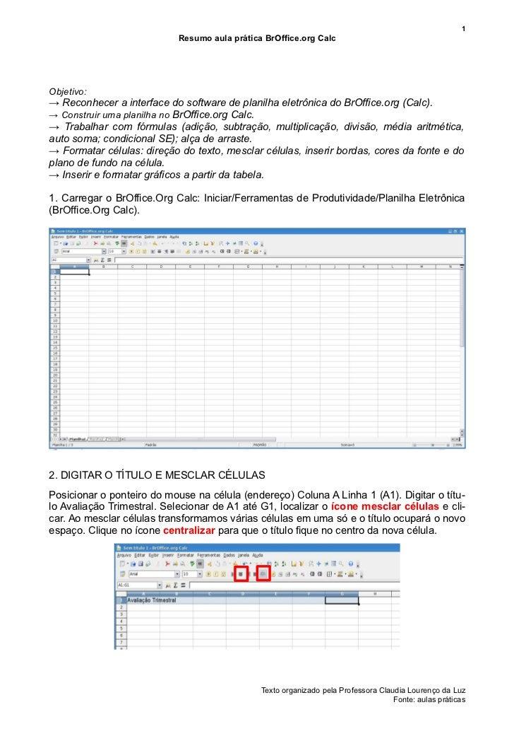 1                            Resumo aula prática BrOffice.org CalcObjetivo:→ Reconhecer a interface do software de planilh...
