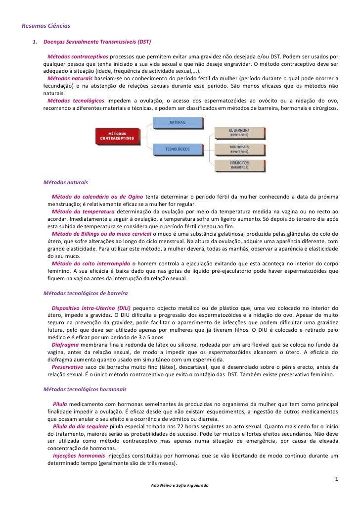 Resumos Ciências   1.   Doenças Sexualmente Transmissíveis (DST)          Métodos contraceptivos processos que permitem ev...