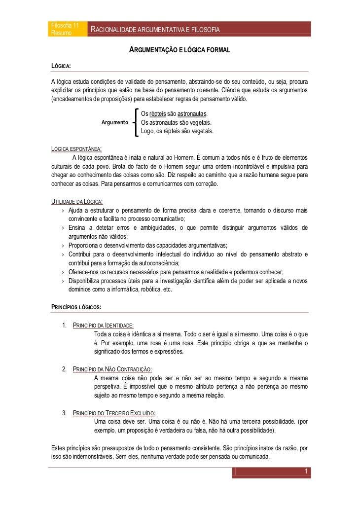 Filosofia 11Resumo         RACIONALIDADE ARGUMENTATIVA E FILOSOFIA                                  ARGUMENTAÇÃO E LÓGICA ...