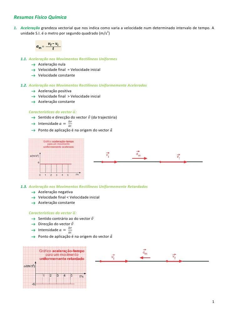 Resumos Físico Química1. Aceleração grandeza vectorial que nos indica como varia a velocidade num determinado intervalo de...